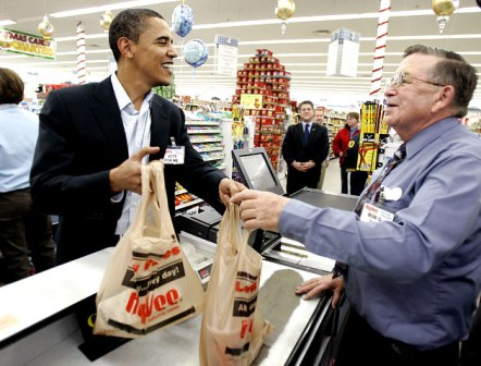 Barack Obama caught with plastic bags