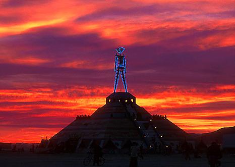 Burning Man at sunrise