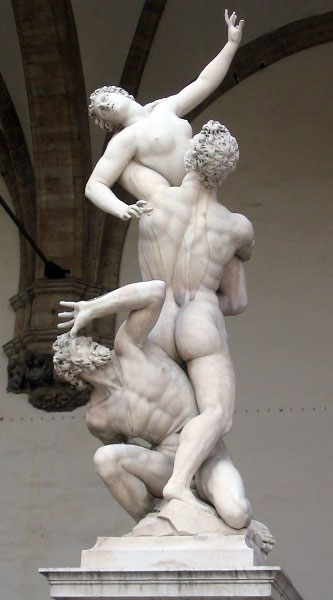 Rape of the Sabine Woman sculpture in Florence, Italy