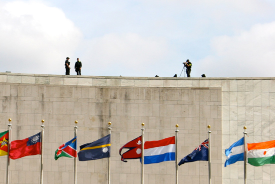Police on the roof of the United Nations