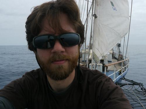 Andrew Blackwell aboard the brigantine Kaisei