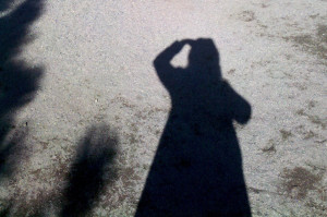 a photo of the author's shadow