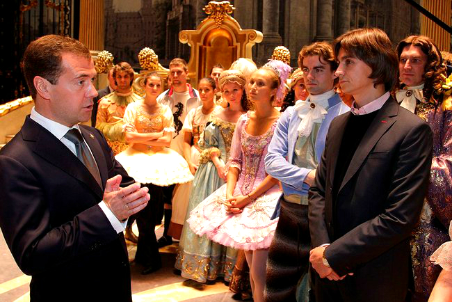 Dmitri Medvedev, then president of Russia, meets with ballet dancers during a 2011 visit to the Bolshoi Theater. Sergei Filin is at right. Photo courtesy of Kremlin.ru