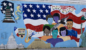 Graffiti of American flag and people with the word 'Diversity'