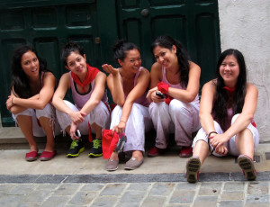 photo of young women who will run with the bulls
