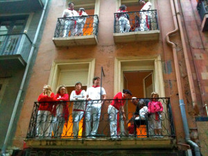 photo of people watching the bulls run from balconies