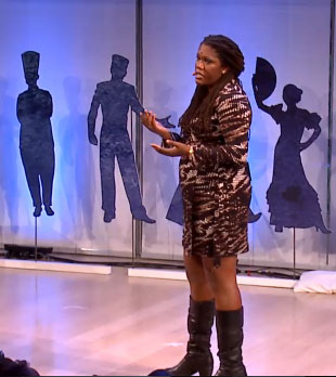 Joshunda Sanders, standing with microphone, at TEDCity2.0