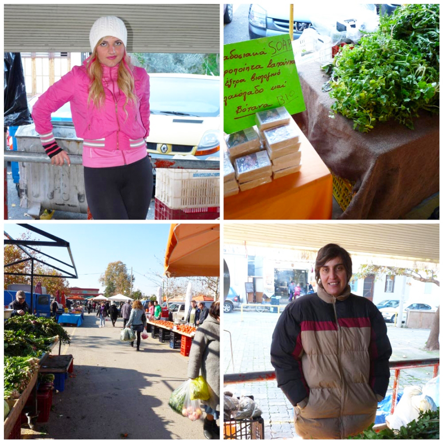 Various photos of farmers and the farmers' market in Kalamata, Greece