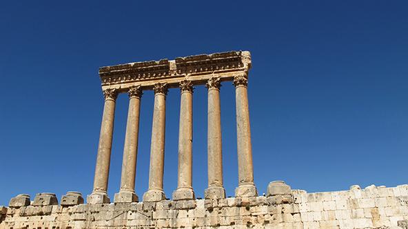 The six pillars against the blue sky