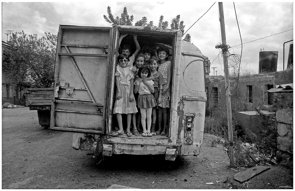 Stepanakert children in a van