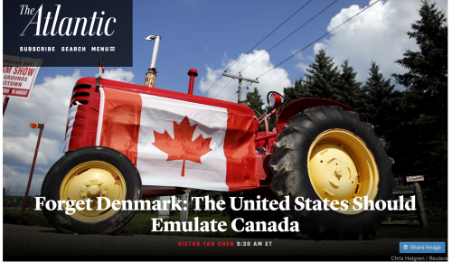 Photo of tractor with Canadian flag