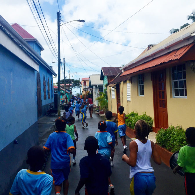 Children running in the street