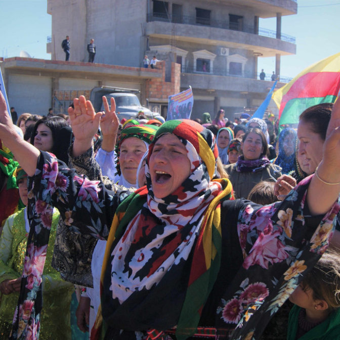 Women chanting during march