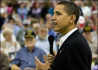Presidential candidate, Senator Barack Obama (D-IL) makes a stop at the Iowa Veterans Home in Marshalltown, Iowa.